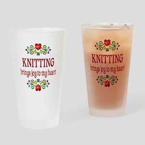 Knitting Joy Drinking Glass