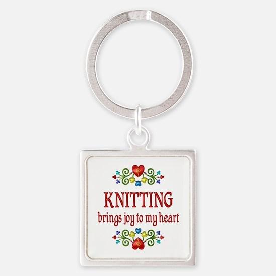 Knitting Joy Square Keychain