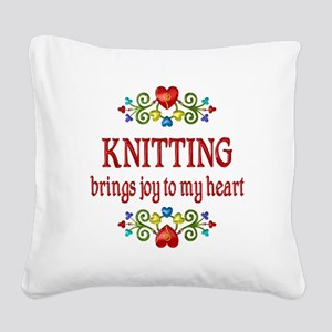 Knitting Joy Square Canvas Pillow