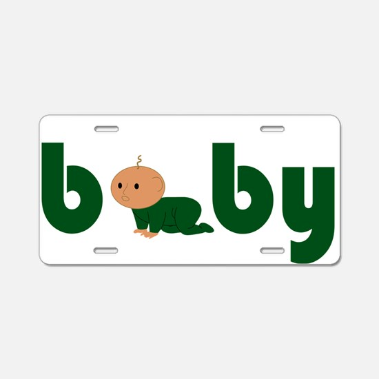 Green Cute Baby Aluminum License Plate
