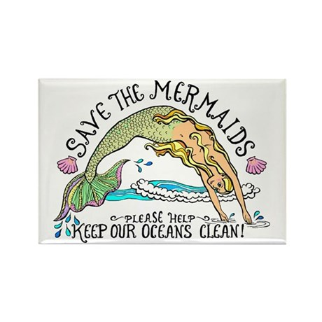 Save the Mermaids Rectangle Magnet