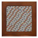 School of Piranhas 2 fish Framed Tile