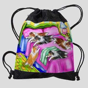 cafepinkcomfortsheltie Drawstring Bag