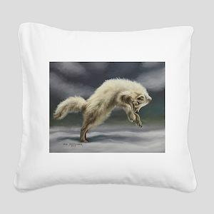 Arctic Fox Square Canvas Pillow