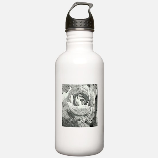 Rose Sketched in Charcoal Water Bottle