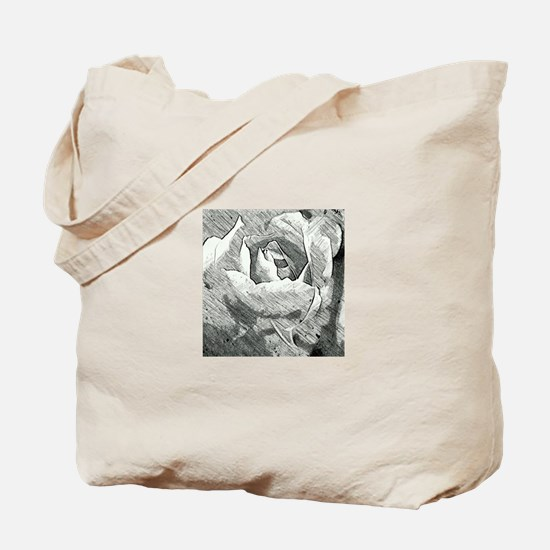 Rose Sketched in Charcoal Tote Bag