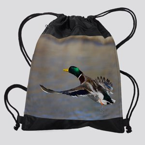 duck in flight Drawstring Bag