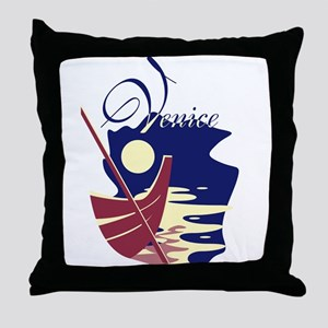 Venice Boat Throw Pillow