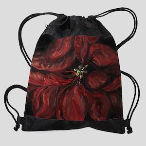 Missys Poinsettia Drawstring Bag