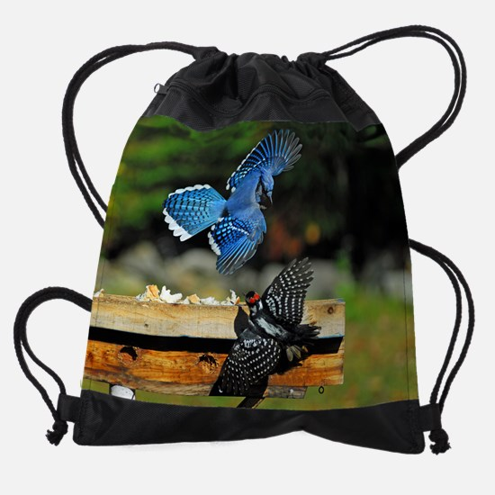 Blue Jay and woodpecker.png Drawstring Bag
