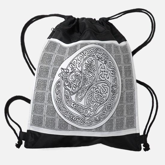 October Celtic Cat coloring page Drawstring Bag