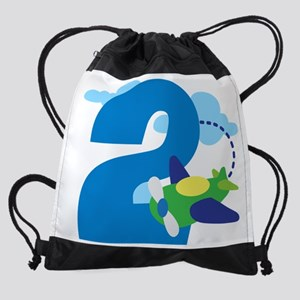 2nd Birthday Airplane Pilot Drawstring Bag