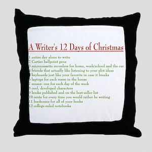 Writer's 12 Days of Christmas Throw Pillow