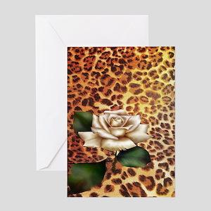vintage rose cheetah print Greeting Cards