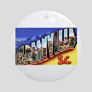 Greenville South Carolina Greetings Ornament (Roun