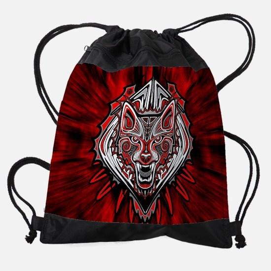 Wolf Tattoo Style Haida Art Drawstring Bag