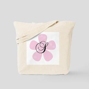Pink Flower Monogram S Tote Bag