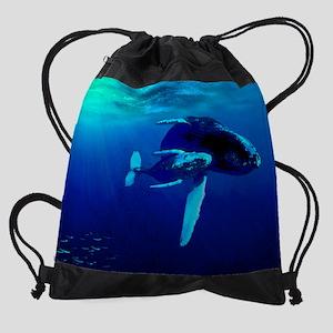 Bag Whales Under Sun Water Drawstring Bag