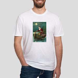 Victorian Santa Moonlight Boat Fitted T-Shirt