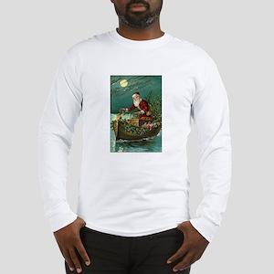Victorian Santa Moonlight Boat Long Sleeve T-Shirt