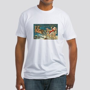 Victorian Santa Sliegh Flying Fitted T-Shirt