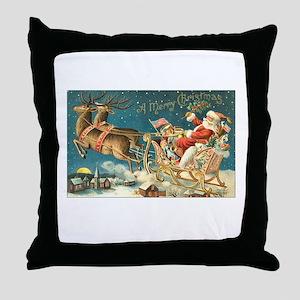 Victorian Santa Sliegh Flying Throw Pillow
