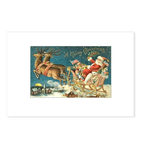 Victorian Santa Sliegh Flying Postcards (Package o
