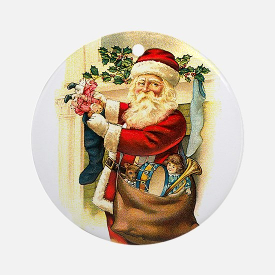 Victorian Santa Claus filling Stockings Ornament (