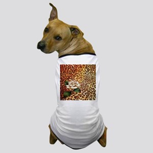 vintage rose cheetah print Dog T-Shirt