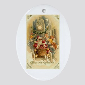 vintage santa claus in car christmastime in the