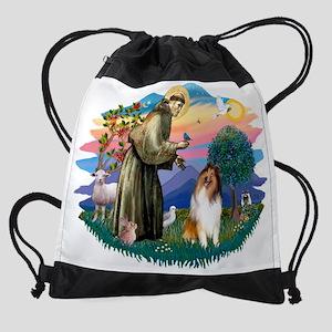The Saint - Collie (sable and white Drawstring Bag