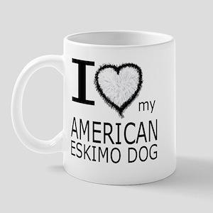 White Fur Heart Amer Eskimo Mug