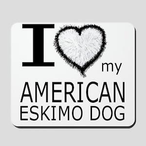 White Fur Heart Amer Eskimo Mousepad