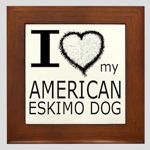 White Fur Heart Amer Eskimo Framed Tile
