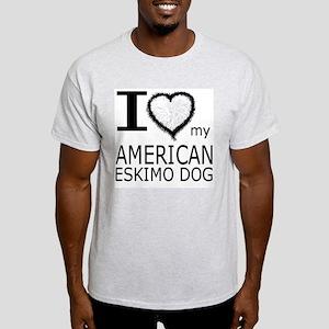 White Fur Heart Amer Eskimo Ash Grey T-Shirt
