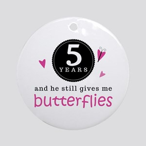 5th Anniversary Butterflies Ornament (Round)