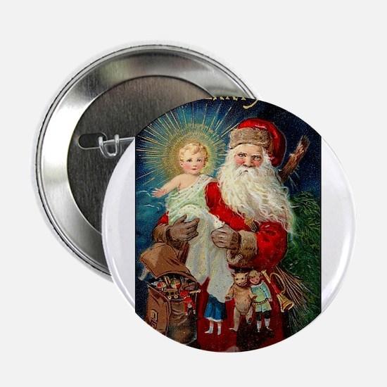 Santa holding Jesus Button