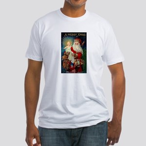 Santa holding Jesus Fitted T-Shirt