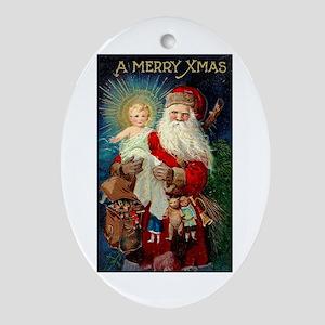 Santa holding Jesus Oval Ornament