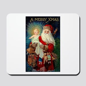 Santa holding Jesus Mousepad