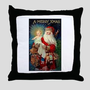 Santa holding Jesus Throw Pillow