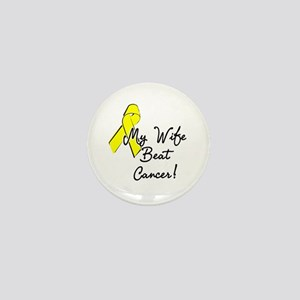 My wife beat cancer Mini Button