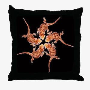 Baby Bearded dragon throw pillow (black)