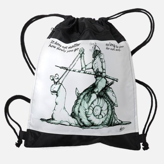 Snail Love Merge TEXT slowly green. Drawstring Bag