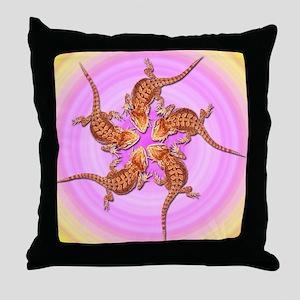 Baby Bearded Dragon Throw Pillow (pink & yellow)