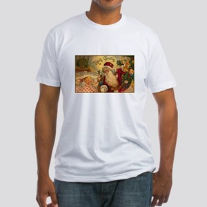 Victorian Santa Claus Scene Fitted T-Shirt