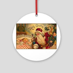 Victorian Santa Claus Scene Ornament (Round)