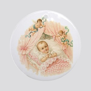 Vintage Baby Girl Ornament (Round)