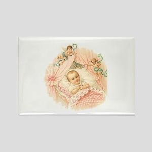 Vintage Baby Girl Rectangle Magnet