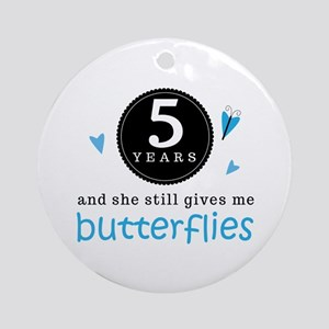 5 Year Anniversary Butterfly Ornament (Round)